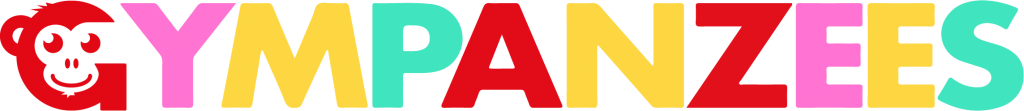 Gympanzees logo in red, pink, yellow and turquoise. With the G Monkey icon at the beginning.