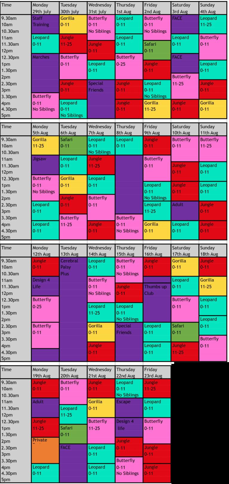 Gympanzees Summer Timetable 2019