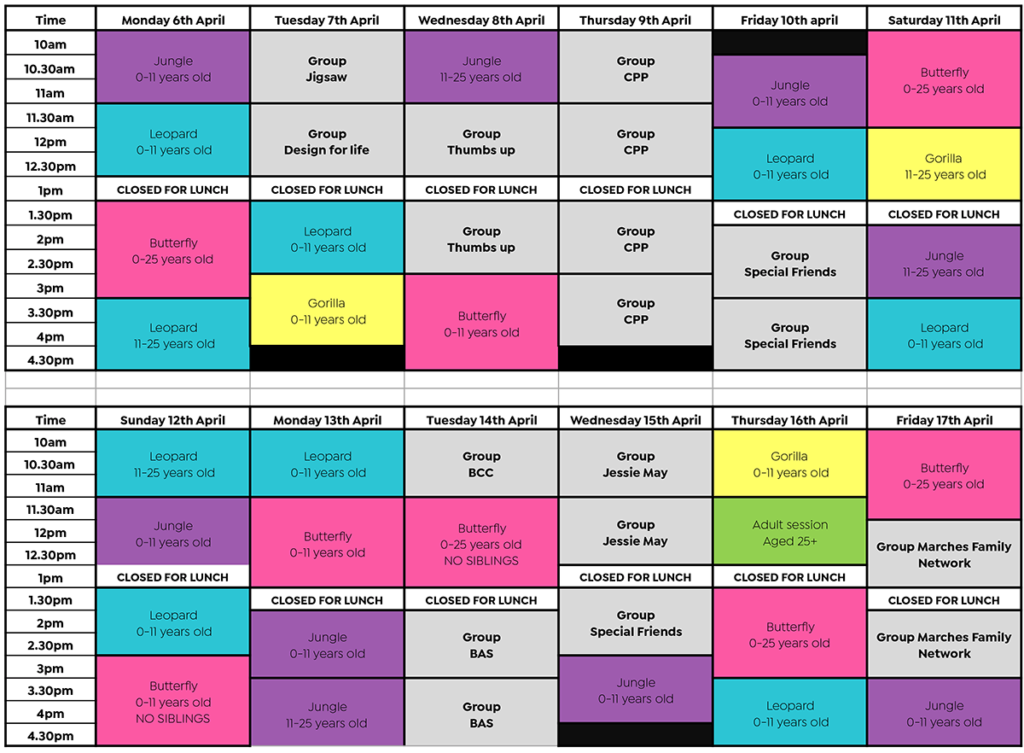 Gympanzees Easter Pop Up Timetable