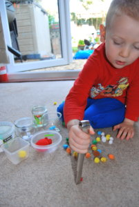 Shoulder stability and hand strengthening exercises for disabled children